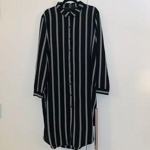 Boohoo Plus Size Striped Collar Shirt Dress